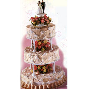 Brocade of Roses Wedding Cake
