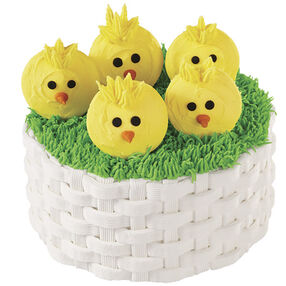 A Basketweave Full of Chicks Easter Cake