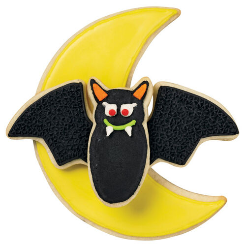 Yellow Moon and Black Bat Cookies