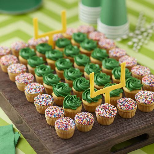 Game Day Football Field and Team Color Mini Cupcakes