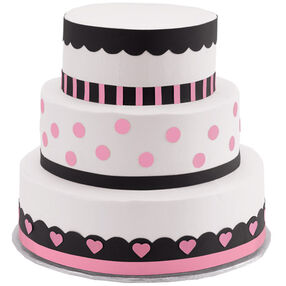 Polka Dots and Hearts Three-Tier Cake