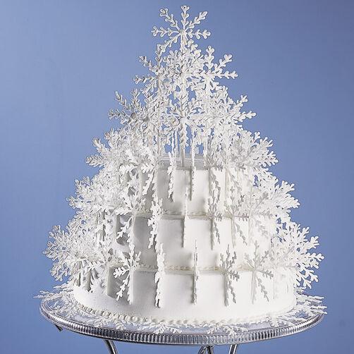 Shimmering Snowflake Tree Cake