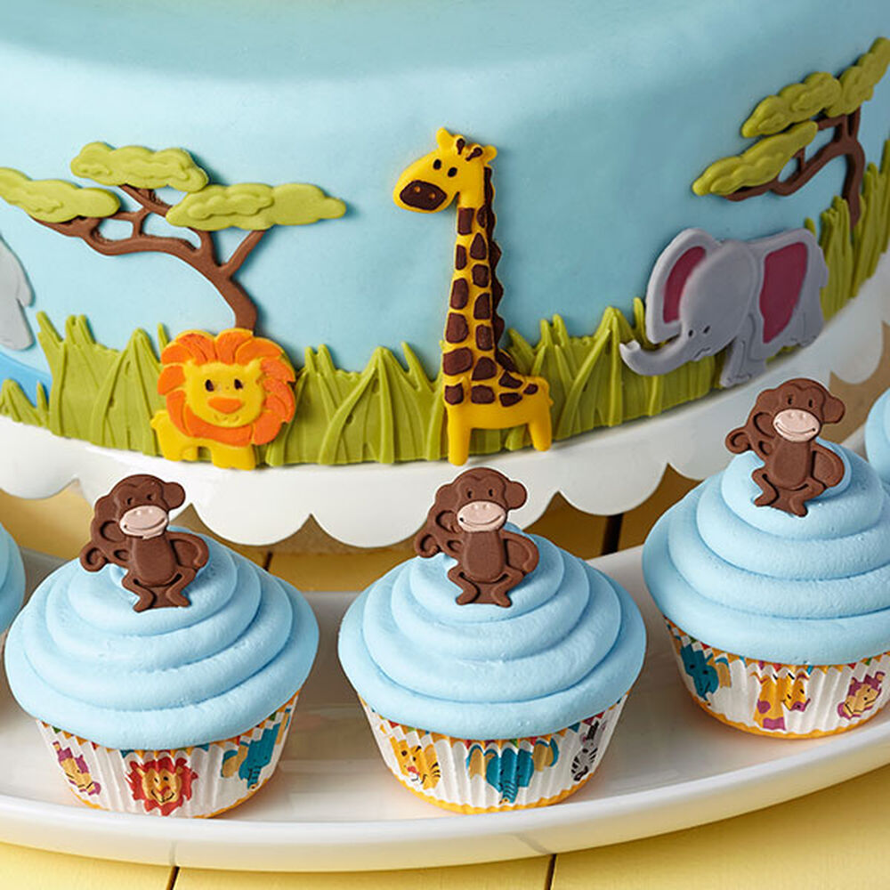 Cake Decorating Animal Molds : Jungle Animals Jamboree Fondant Cake Wilton