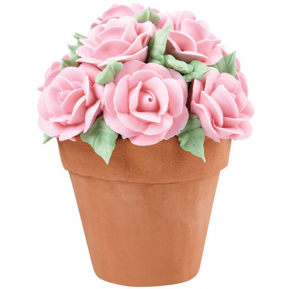 Bouquet Of Roses Flower Pot Cake Wilton