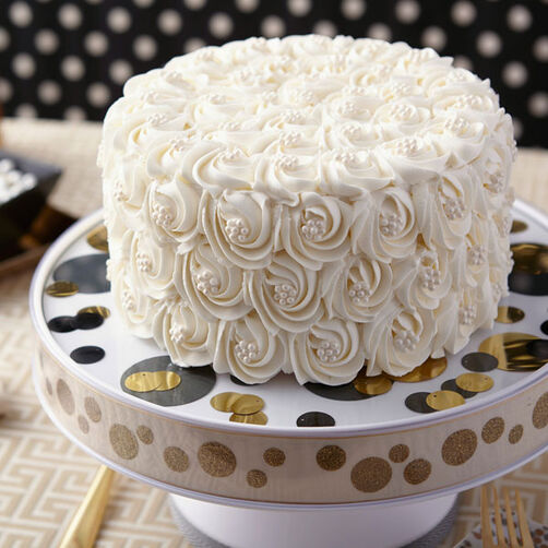 Pure White Rosette Wedding Cake Wilton