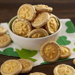 St. Patrick's Day gold pretzel and candy coins in a bowl