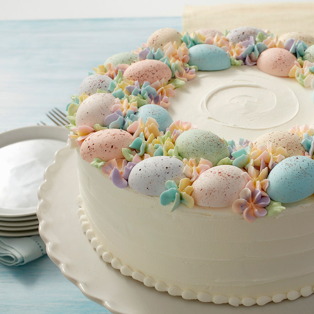 Cake Decorated With Easter Eggs : Speckled Egg Statement Cake Wilton
