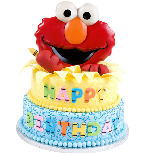 Elmo's Bursting to Celebrate Cake