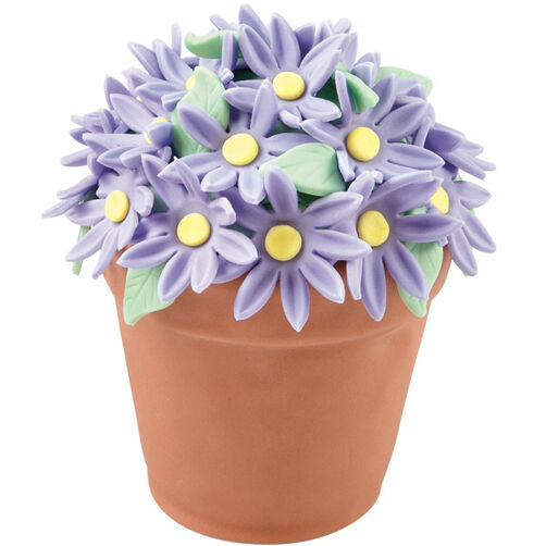 Pretty Purple Daisies Flower Pot Cake