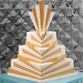 Golden Deco Wedding Cake