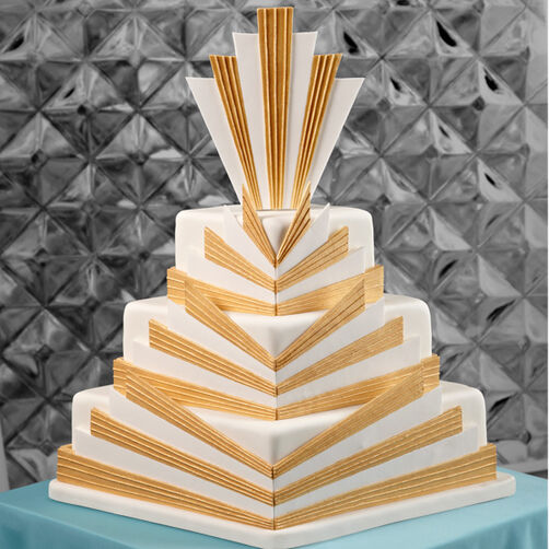 Golden Deco Wedding Cake