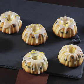 Lemon Blueberry Mini Fluted Cakes