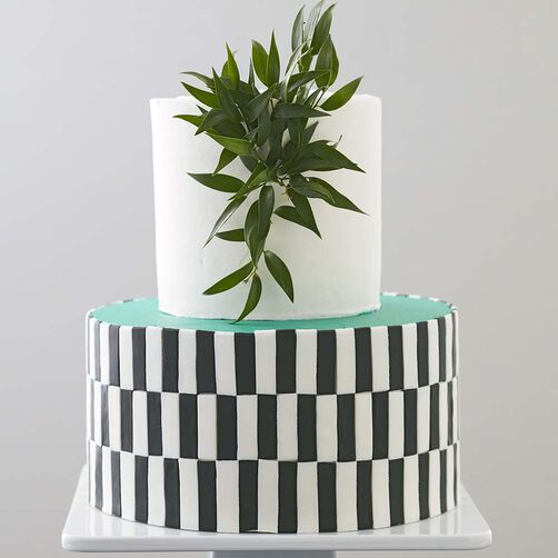 Black White and Teal All Over Cake