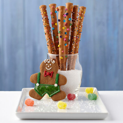 Gingerbread Pretzel Sticks
