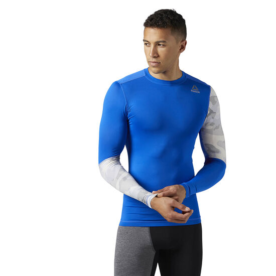 Reebok - ACTIVCHILL Graphic Long Sleeve Compression Shirt Vital Blue BR9577