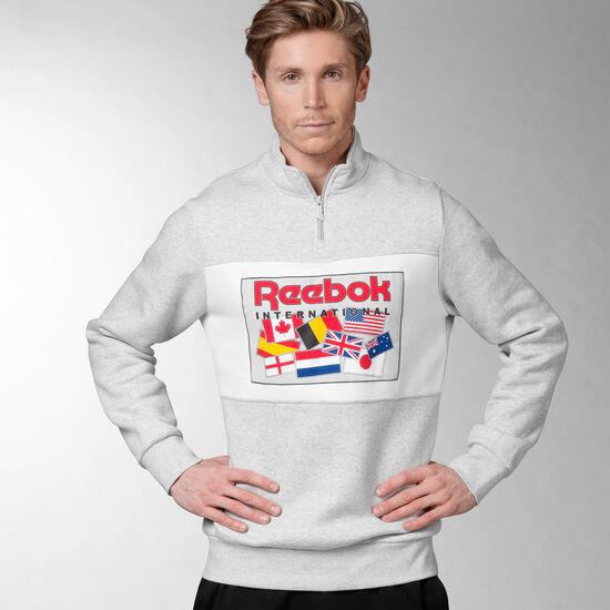 Reebok - Reebok Archive Quarter Zip Top Light Grey Heather BQ1155