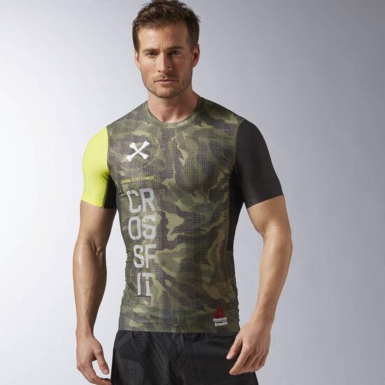 Reebok - Reebok CrossFit Short Sleeve Printed Compression Top Canopy Green AP9075