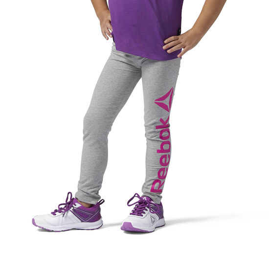 Reebok - Girls Essentials Leggings Medium Grey Heather/Charged Pink BS1338