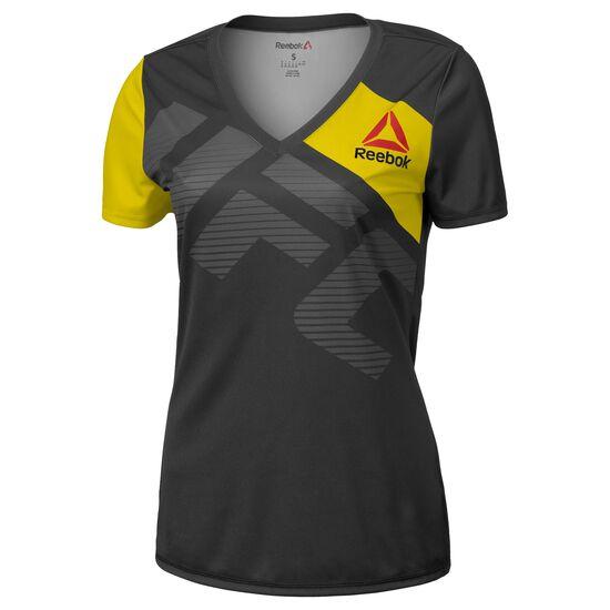Reebok - Koszulka UFC Fight Kit Walkout Black/Blaze Yellow AZ9064