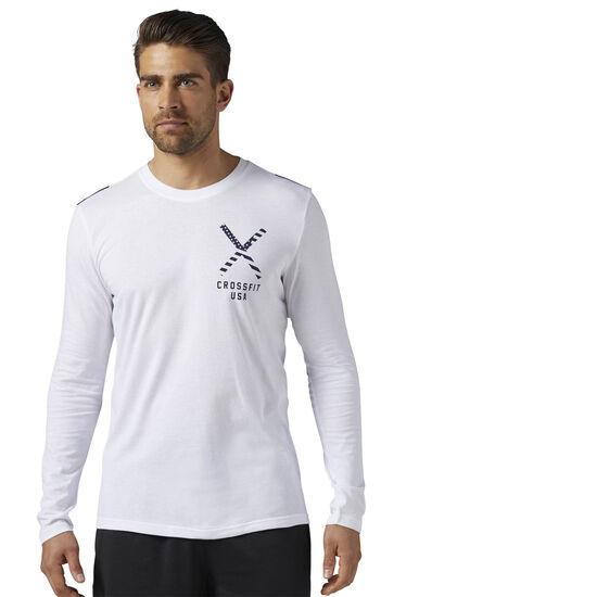 Reebok - Reebok CrossFit Patriotic Graphic Long Sleeve Shirt - USA White BR5538