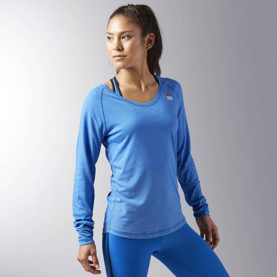 Reebok - Women's Reebok CrossFit Graphic Burnout Long SleeveTee Echblu BK1162
