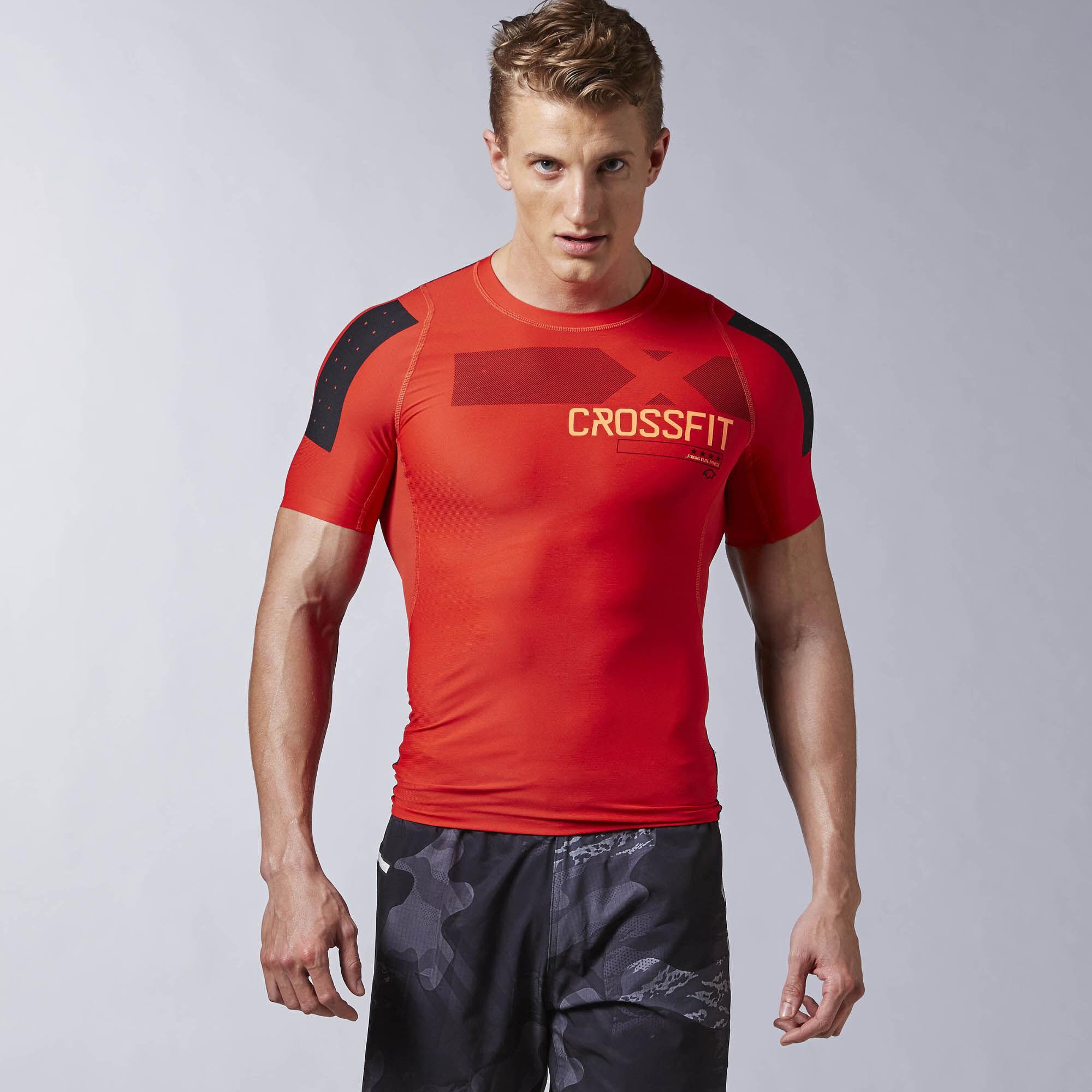 Reebok t shirt de compression reebok crossfit pwr6 rouge for Reebok crossfit t shirts