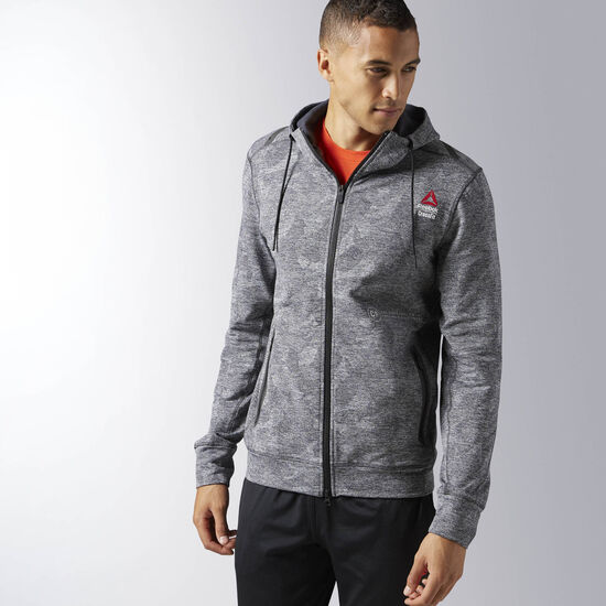 reebok men 39 s reebok crossfit fleece full zip hoodie. Black Bedroom Furniture Sets. Home Design Ideas