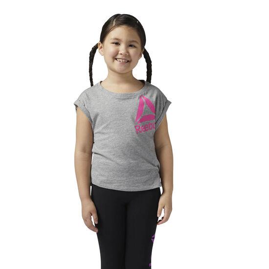 Reebok - Koszulka Girls Essentials Medium Grey Heather/Charged Pink BR7220