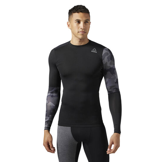 Reebok - ACTIVCHILL Graphic Long Sleeve Compression Shirt Black/Black BR9579