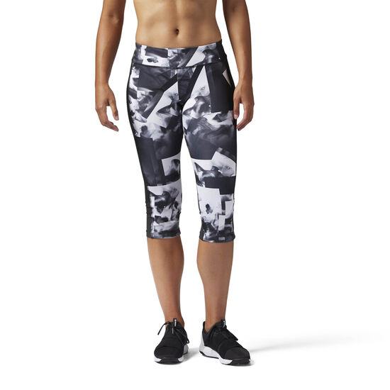 Reebok - Workout Ready Smoke Print Capri White CE7769