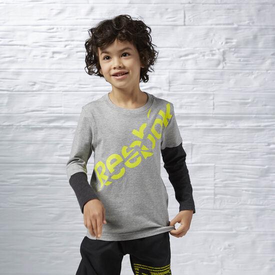 Reebok - Boy's Long Sleeve Tee Medium Grey Heather AY0692