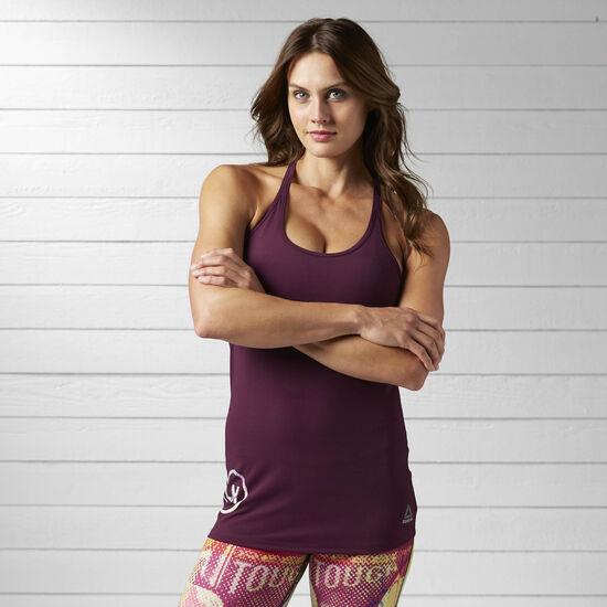 Reebok - Débardeur de yoga à brassière intégrée LES MILLS Pacific Purple BJ9624
