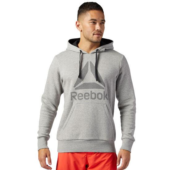 Reebok - Workout Ready Big Logo Cotton Poly Hoodie Medium Grey Heather/Black BK4157