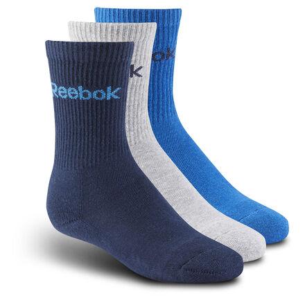 Благодаря манжетам в рубчик эти носки отлично сидят на ноге и идеально подходят для самых подвижных игр. Логотип Reebok позволит вашему сорванцу быть в центре внимания.