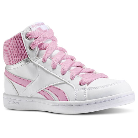 Reebok Unisex Royal Prime Mid - Pre-School in White / Icono Pink / Silver Size 2 - Casual Shoes