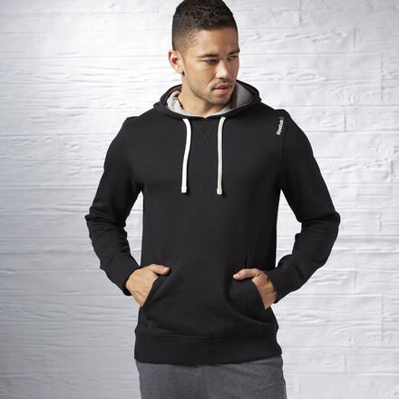 Reebok Mens Elements Fleece Pullover Hoodie in Black Size L - Training Apparel