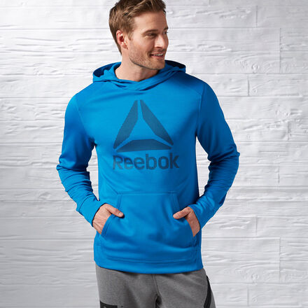 Reebok Mens Workout Ready Warm Poly Fleece Pullover Hoodie in Instinct Blue Size XL - Training Apparel