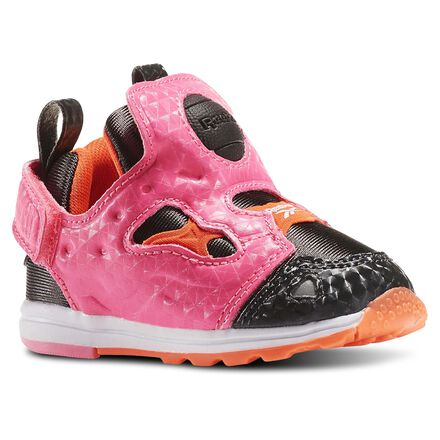 Reebok Unisex Versa Pump Fury Syn - Infant & Toddler in Coal / Posion Pink / Atomic Red / White Size 4 - Retro Running Shoes