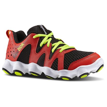 ATV19 Boom - Grade School Trail Shoes, unisex, Size: 3.5, China Red / Black / White / Solar Yellow