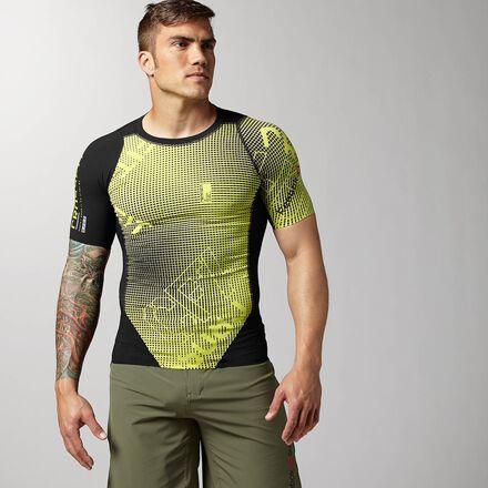 CrossFit Mens Squared Chartreuse Reebok CNTRL II Compression Shirt