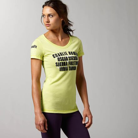 CrossFit Womens High Visibility Green Reebok Graphic Charlie Foxtrot Shirt