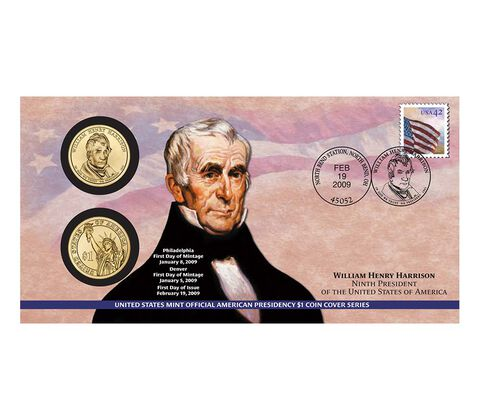 William Henry Harrison 2009 One Dollar Coin Cover