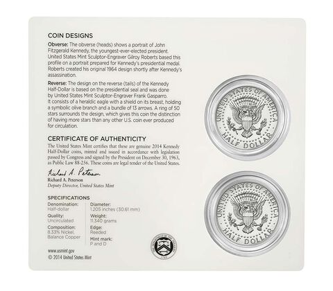 50th Anniversary Kennedy 2014 Half-Dollar Uncirculated Coin Set,  image 4