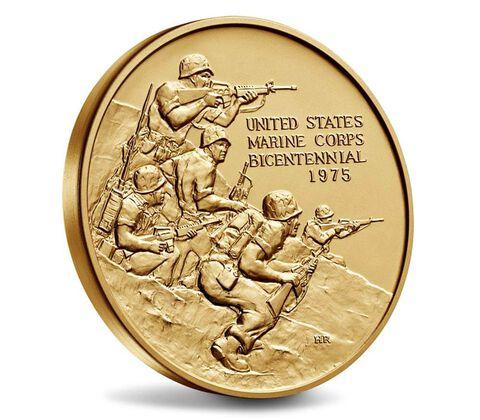 U.S. Marine Corps Bicentennial Bronze Medal 3 Inch,  image 3