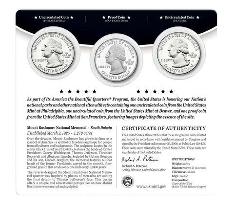 Mount Rushmore National Memorial 2013 Quarter, 3-Coin Set,  image 2