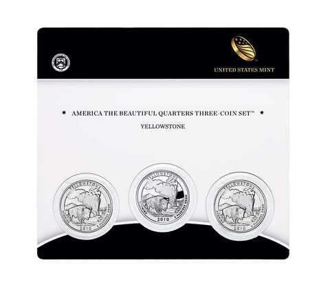 Yellowstone National Park 2010 Quarter, 3-Coin Set,  image 1