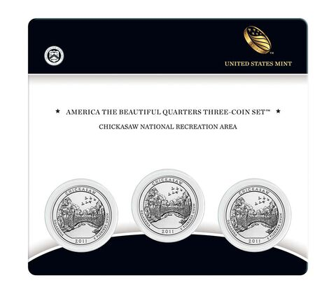 Chickasaw National Recreation Area 2011 Quarter, 3-Coin Set,  image 1
