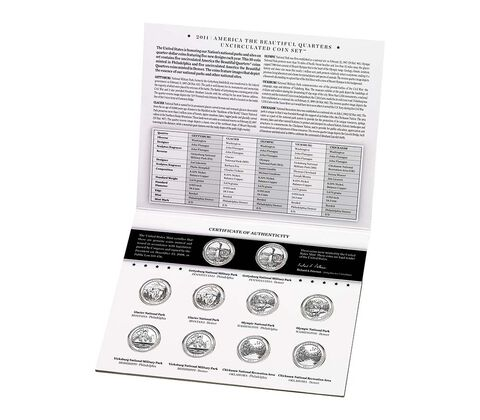 America the Beautiful 2011 Quarters Uncirculated Coin Set