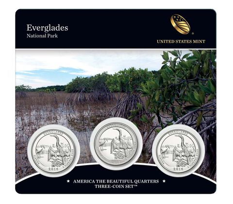 Everglades National Park 2014 Quarter, 3-Coin Set