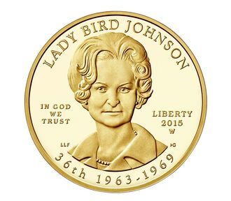 """""""Lady Bird"""" Johnson 2015 First Spouse Series One-Half Ounce Gold Proof Coin"""